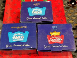 lot of 3 Walt Disney Grolier President s Edition Ornaments   Alice  Doc    Mad Hatter   In Original Boxes
