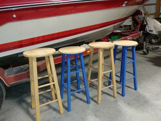 lot of 4 Wooden Stools