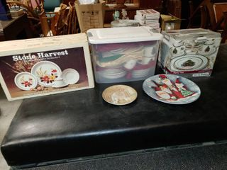 large lot of Christmas and Fall Themed Plates