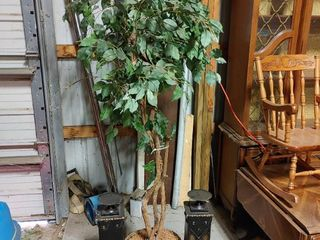 lot of 3 large Faux Tree and 2 Tall Vase Stands   Tree   74  T