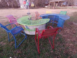 Metal Outdoor Bar Set   2 Bars   6 Chairs   Bars   36  Tall  Chairs   44  Tall