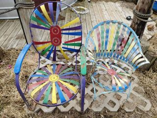 lot of 2 Turn of Century Metal Parlor Chairs