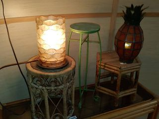 lot of 5 Stands  lamp  and Glass Pineapple Candle Holder