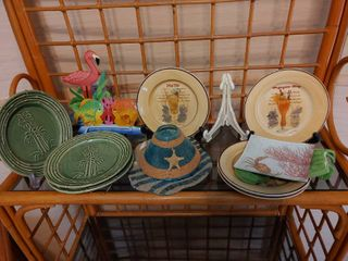 large lot of Tropical Themed Plates and Decor Items