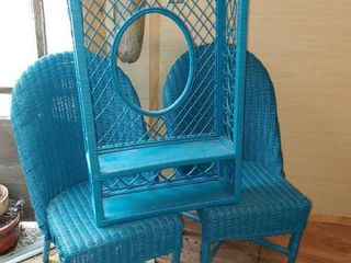 lot of 3 light Blue Wicker Furniture Pieces   2 Chairs and 1 Wall Shelf   Chairs   37  x 20  x 17