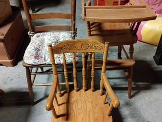 lot of 3 Vintage Chairs   Tallest Chair   40  T