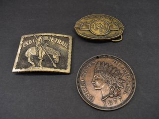 Vintage lot of 3 Brass Belt Buckles and Medal  End of Trails   Running Strong   Award Design    1984 Billy Mills