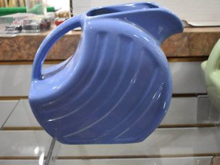 Vintage Alamo Pottery Art Deco Water Pitcher Ceramic   Blue   7 1 2