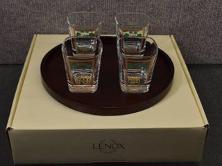 Vintage lot of 5 lenox Collector Shot Glasses w Plate   Made in Italy   Shamrock Pattern