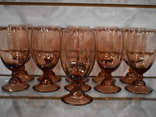 Vintage lot of 11 Stemmed Rib Optic Glasses with Beaded Stem   6
