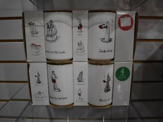 Vintage lot of 8 Merry Masterpieces American   International Mug Collection NIB   First Edition Fine Porcelain Dayton Hudson Corp   Eat  laugh  Drink  Chuckle   4 1 2