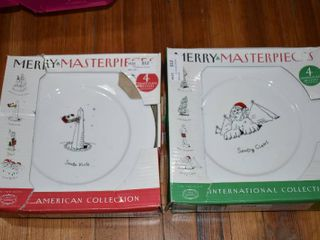 Vintage lot of 9 Merry Masterpieces American   International Plate Collection NIB   First Edition Fine Porcelain Dayton Hudson Corp   10