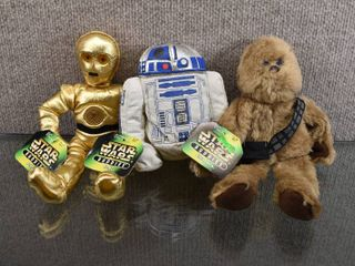 Vintage lot of 3 Star Wars Stuffed Buddies R2 D2  C 3PO   Chewbacca   Kenner Hasbro Toy Company   9 1 2