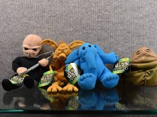 Vintage lot of 4 Star Wars Stuffed Buddies Max Rebo  Salacious  Figrin D an   Jabba   Kenner Hasbro Toy Company
