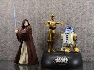 Vintage lot of 2 Star Wars C 3PO   R2 D2 Electronic Bank 1995   Obi Wan Kenobi Figure   Thinkway Toys