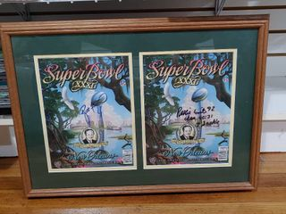 Vintage Autographed Superbowl Programs Framed   Brett Favre   Reggie White   Excellent Condition   17  x 23
