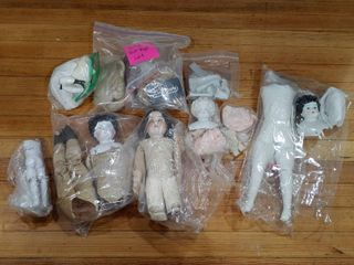 Vintage Collection of Doll Parts   Wigs  Porcelain Parts   Clothing