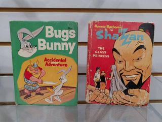 Vintage lot of 2 Whitman Big little Book   Bugs Bunny   Shazam   Hanna Barbera   The Glass Princess   Accidental Adventure   4  x 5