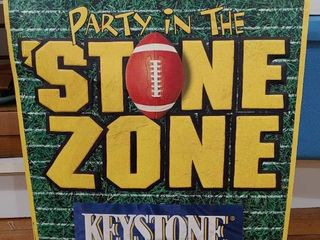 Vintage Keyston Metal Sign   Party in The Stone Zone   15  x 23