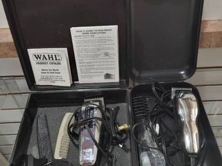 lot of 2 Wahl Chrome Pro Adjustable Clippers In Carrying Cases   Wahl Clipper Company   Works  Instruction Included