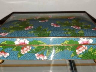 Vintage Cloisonne Trinket Jewelry Box   Blue with Pink Flowers   5  x 6