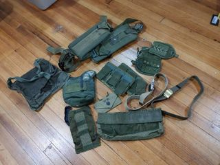 Vintage large lot of Army Gear   Belt  Canteen Holder etc