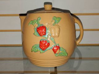 Vintage Teapot Cookie Jar Strawberry   8  Tall