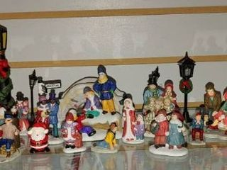 Vintage lot of 30 Christmas Village Accessories   Snowmen  Carolers  lamps  Tree  Police etc