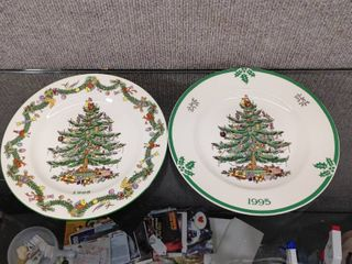 lot of 2 Spode Christmas Tree Collector Plate 1995  1995   Made in England   8