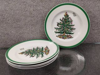 lot of 5 Spode Christmas Tree Salad Plates   S3324 U Made In England   8
