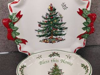 lot of 2 Spode Christmas Tree Bowl   Platter   S3324 A18  A 15  Made in England   11