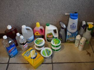 large lot of Cleaning Supplies   Window Cleaner  Drain Cleaner  Much More   See Photos For Details   lOCAl PICKUP ONlY