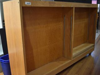 Rolling Wood Display Shelf   44  x 71    lOCAl PICKUP ONlY