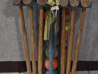 Vintage Six Player Croquet Set w Balls   Stakes   Wood