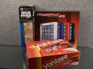 lot of 3 Games  Yahtzee  Jenga  Flashpad   Milton Bradley Company  Toy Element   Yahtzee Missing Die