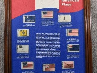 Historic American Flags Framed Stamps   11  x 14