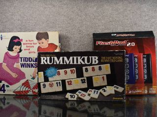 lot of 3 Game lot Includes Tiddlywinks  Rummikub  Flashpad 2   Watkins Strathmore  Pressman   Toy Element