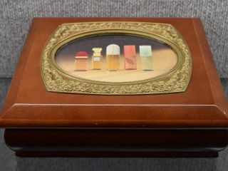 Wood Jewelry Box w Collector Coins   Wooden Nickels etc
