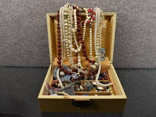 Vintage Jewelry Box Full of Costume Jewelry Necklaces  Pins  Brooch  Watch etc