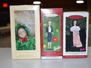 Vintage lot of 2 Hallmark Keepsake Christmas Ornament   Barbie Commuter Set   Amanda   Amanda Hand Painted