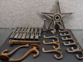lot of 28 Cast Iron Fence Caps  Coat Hooks   Star   16 Flared Iron Ball Cap  9 Hooks  1 Star   Caps are Square Based  In Wood Box