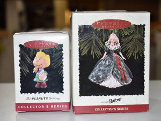 Vintage lot of 3 Hallmark Collector Series Christmas Ornament   Barbie   Peanuts