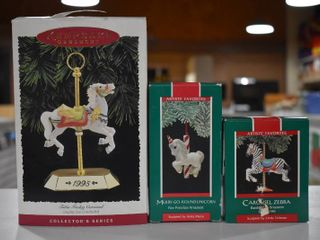 Vintage lot of 3 Hallmark Keepsake Ornaments   Zebra  Unicorn   Horse   1995