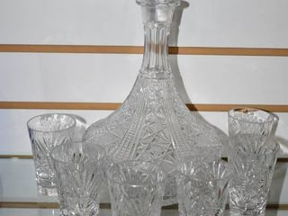 Vintage Set of 7 Crystal Clear Decanter and Glasses   Decanter 11  Glasses 3 1 2