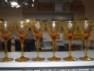 Vintage Set of 6 Marigold Wine Glasses with Flower Pattern   Gold Rim   Stemmed Glasses   6 1 2  Tall