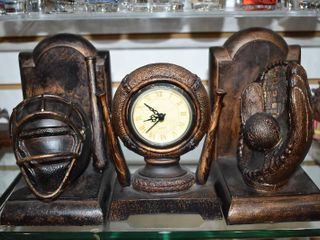 Vintage Set of 3 Baseball Clock  Bookends Baseball   Football   Made of Resin   7  Tall