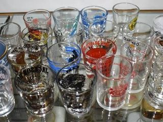 Vintage lot of 21 Collector Shot Glasses   Various Places   Various Sizes