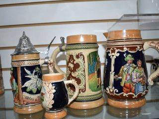 Vintage lot of 4 German Beer Steins   Pitcher   Various Sizes