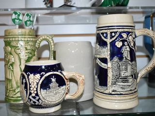 Vintage lot of 5 German Beer Mugs and Steins   With Various Swizzle Sticks   Various Sizes