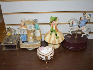 Vintage lot of 5 Music Box Collection   Carousel Collections  San Francisco Music Box  Gorham  Nice Corp     Working